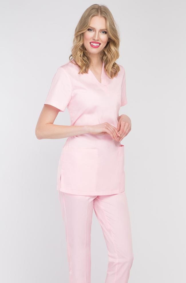 Bluza medyczna damska pudrowy róż