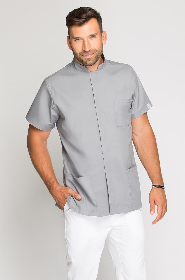 Bluza medyczna męska ze stójką szara-279