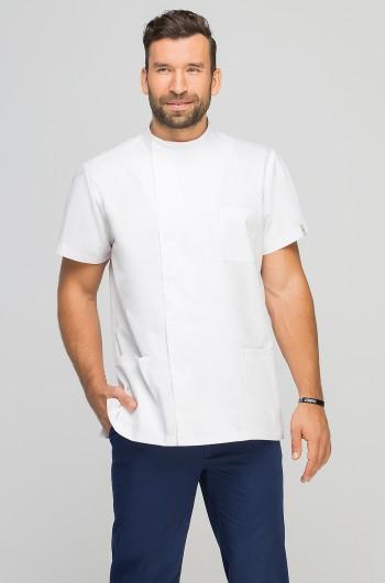 Bluza medyczna męska z boczną stójką biała-331