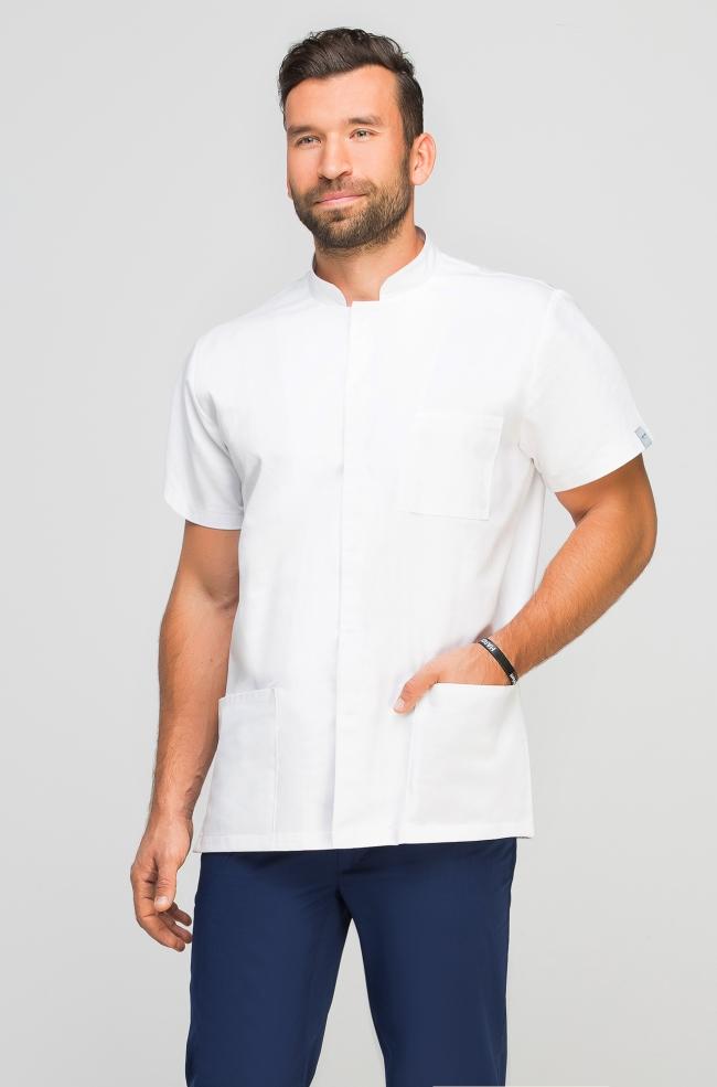 Bluza medyczna męska ze stójką biała-310