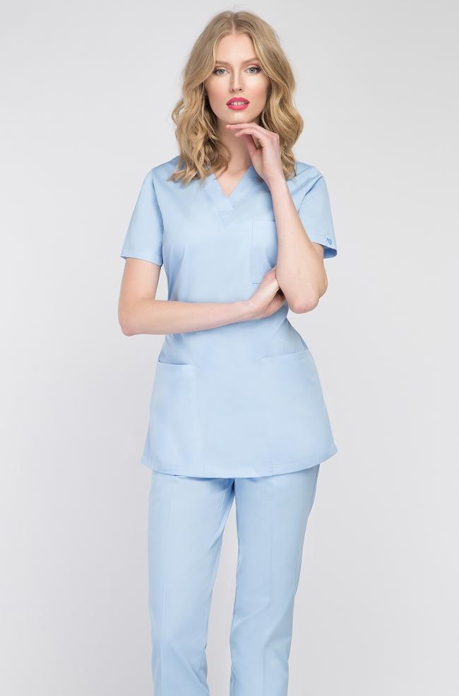 Bluza medyczna damska błękitna