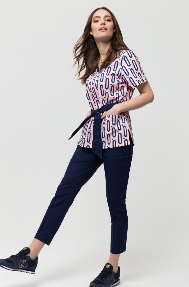 Bluza medyczna AVA pudrowy róż print big