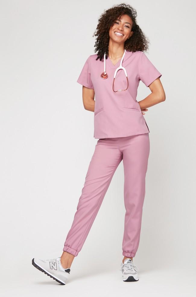 Spodnie medyczne joggery - liliowy róż