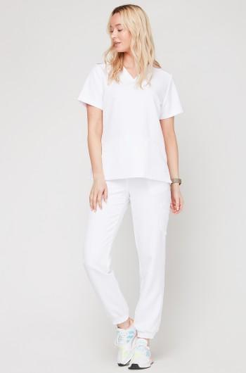 Spodnie medyczne Joggery - białe